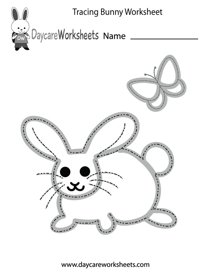 Preschool Tracing Bunny Worksheet Printable