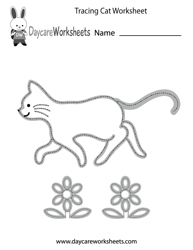 Free Preschool Tracing Cat Worksheet