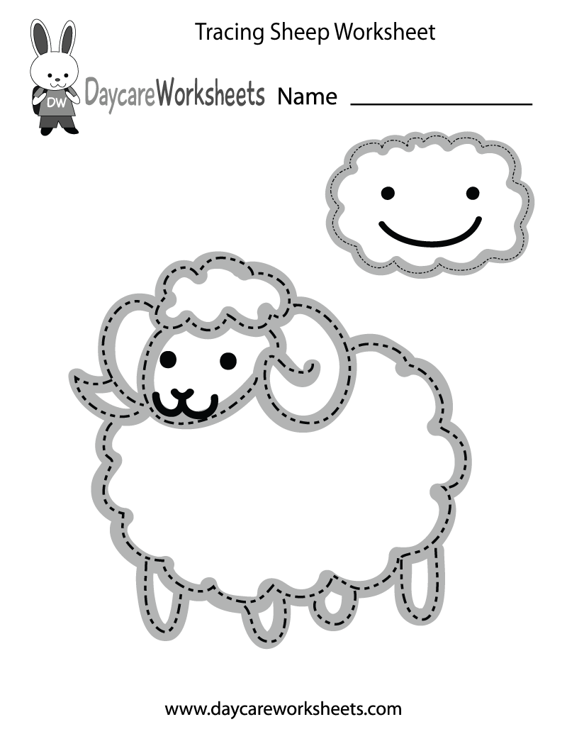 Preschool Tracing Sheep Worksheet Printable