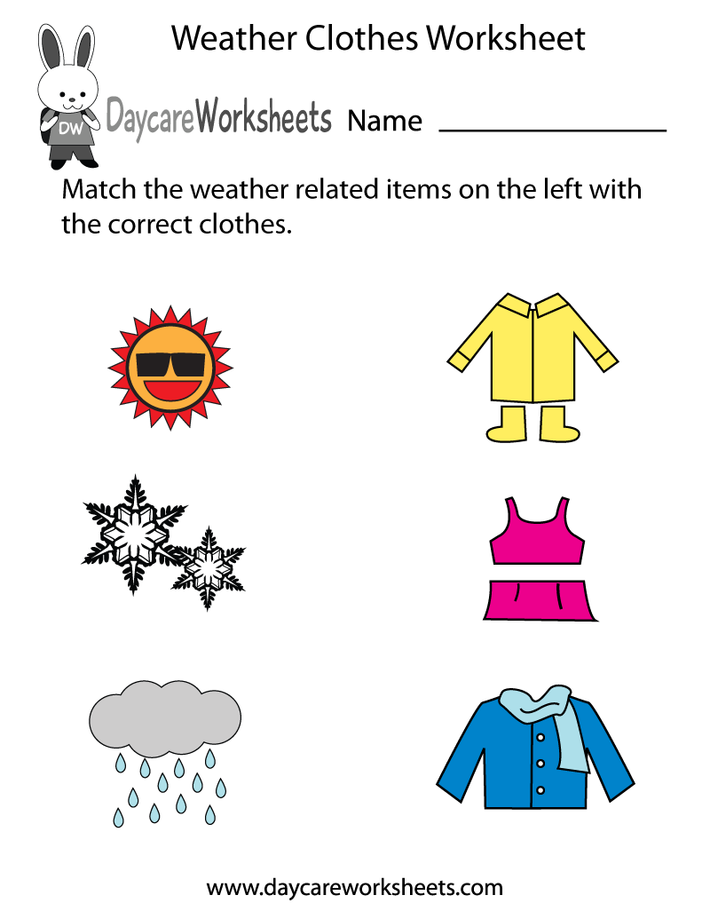 Weather Clothes Worksheet Printable on spring weather wear preschool