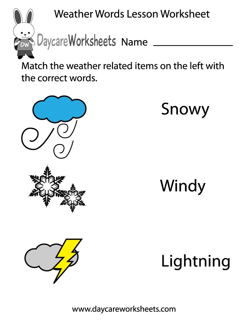 Preschool Weather Words Lesson Worksheet Printable